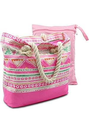 Thirne & Co Wasserabweisende Strandtasche, Boho-Canvas, Strandtasche mit Seilgriffen, Reißverschluss Oben