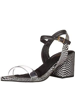 KAANAS Women's Naples Snake Heels with Vynil Strap Heeled Sandal, Black/White