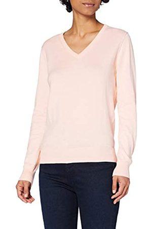 MERAKI Damen Strickpullover - Amazon-Marke: Baumwoll-Pullover Damen mit V-Ausschnitt, Rosa (Pale Pink), 36