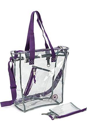 NiceAndGreat Robuste, durchsichtige Tragetasche mit Reißverschluss, robuste und transparente Handtasche mit Kosmetiktasche (violett)