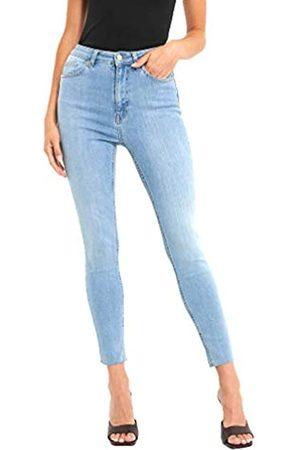NA-KD Damen High Waisted - Damen Skinny High Waist Raw Hem Jeans