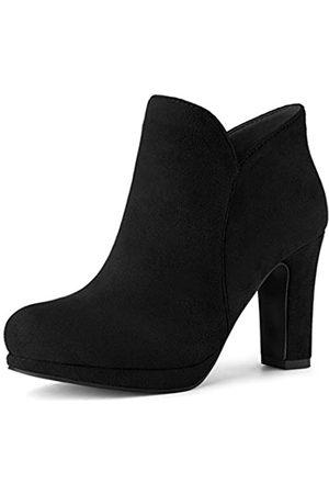 Allegra K Damen Stiefel mit rundem Zehenbereich, klobiger Absatz, knöchelhoch