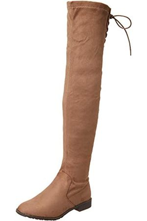 Yoki Yoki Damen Comfort Overknee-Stiefel, Beige (Taupe)