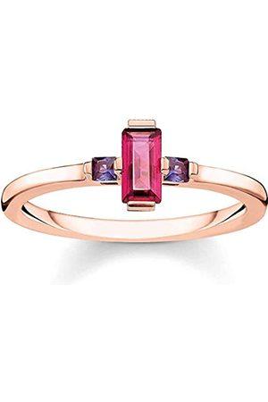 THOMAS SABO Thomas Sabo Damen-Ring Stein Baguette-Schliff rot 925 Sterlingsilber roségold vergoldet TR2258-540-10-48