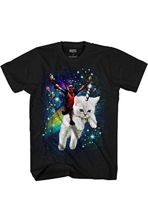 Marvel Marvel Deadpool Space Trip Unicorn Kitty Adult T-Shirt (Black