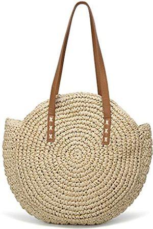 Epsion Große Strandtasche für Damen, Strohtasche, Hobo-Sommertasche, handgewebt, mit Pompons, Beige (B-beige)