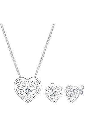 Elli Elli Schmuckset Damen Herz Ornament mit Swarovski® Kristalle in 925 Sterling