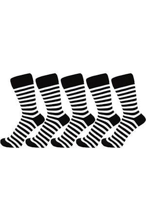 ZAKIRA Herren Socken & Strümpfe - Elegante Gestreifte Socken aus Feinster Gekämmter Baumwolle für Damen und Herren 5 Pack (Weiß/ )