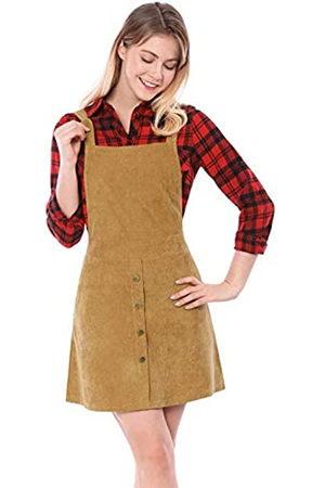 Allegra K Damen A Linie Button Dekor Cord Latzkleid Kleid XS