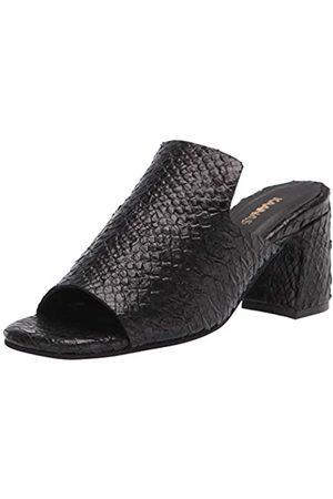 KAANAS Women's Moscow Snake-Embossed Loafer Mule Heeled Sandal, Black