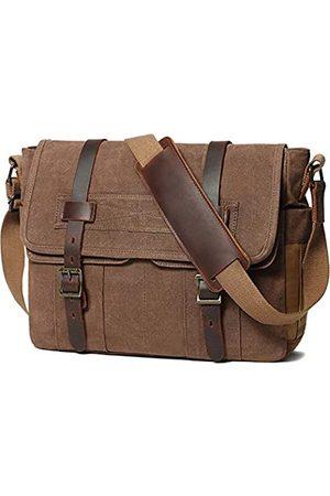 SOAEON Messenger Bag für Herren 15,6 Zoll Canvas Laptop Computer Tasche Leder Aktentasche