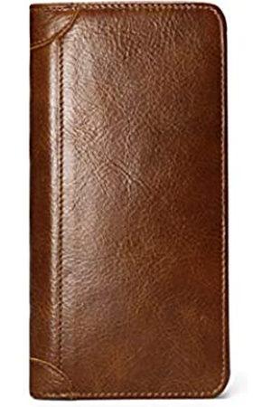 Tonywell Tonywell Lange Geldbörsen für Herren aus Leder, faltbares Portemonnaie, schmal, Scheckbuch, Karten