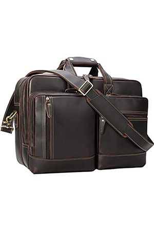 Unique Retro Bag Aktentasche aus Leder für Herren, erweiterbar, Vintage, 43,2 cm (17 Zoll) Laptop, Computer, Umhängetasche, Schultertasche, Business, Reise