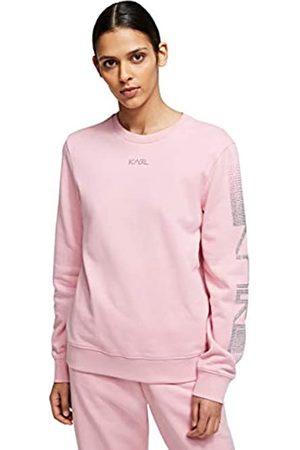 Karl Lagerfeld Womens Rhinestone Logo Sweatshirt, Pink