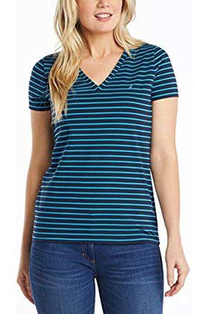 Nautica Damen Shirts - Damen Easy Comfort V-Neck Striped Supersoft Stretch Cotton T-Shirt
