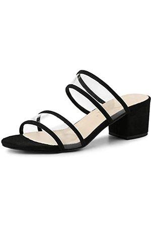 Allegra K Damen Durchsichtige Riemchen Blockabsatz Slide Sandalen