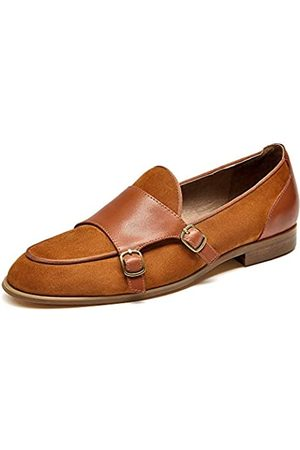 Beautoday BEAU TODAY Damen Wildleder Loafer Elegant Mönch Slip Ons Schuh, Braun (Gelb-Braun)