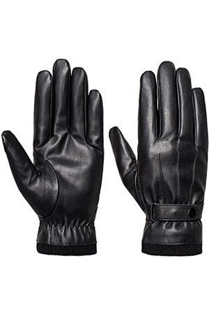 SANKUU Herren Handschuhe - Herren Winterhandschuhe Leder Touchscreen Druckknopf Verschluss Fahrradhandschuh Outdoor Reiten Warm Wasserdicht Handschuhe - - Groß