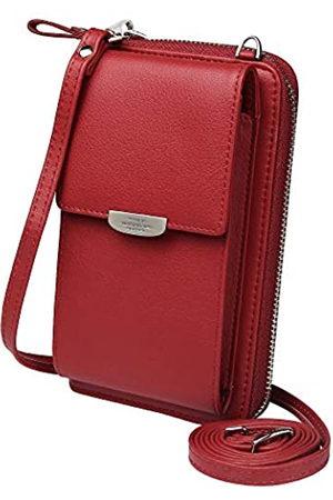 KUKOO Kukoo Kleine Crossbody-Tasche Handytasche Geldbörse mit Kreditkartenfächern für Damen, Rot (A- roter Reißverschluss verbesserte Version.)