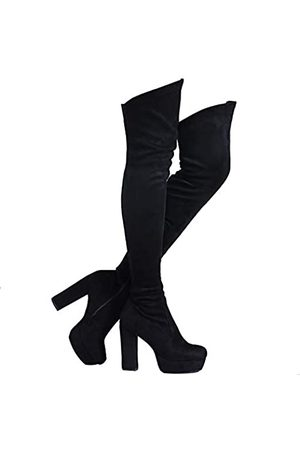 Shoe'N Tale Shoe'N Tale Women Stretch Suede Chunky Heel Thigh High Over The Knee Snow Boots (6.5