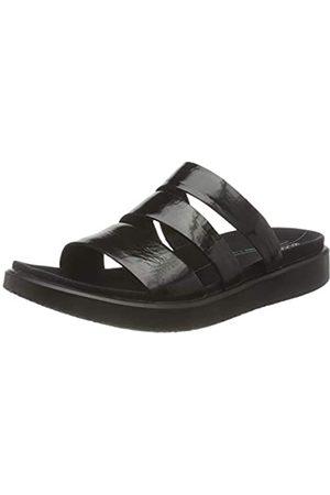 Ecco Damen Flowt Flat Sandal, (Black Iridescent)