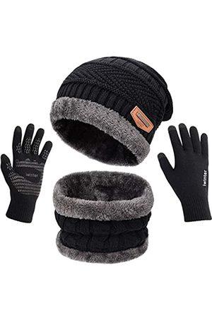 Maylisacc Winter-Strickmütze, Halswärmer, Schal und Touchscreen-Handschuhe, Set mit 2/3 Stück