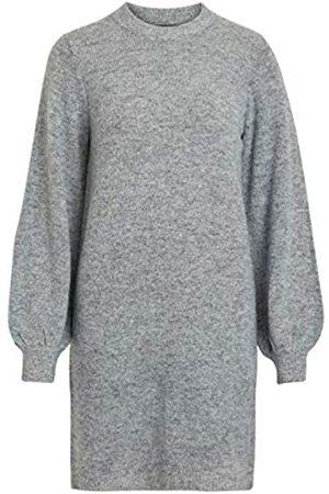 Object Female Strickkleid Ballonärmel Slight Grey Melange