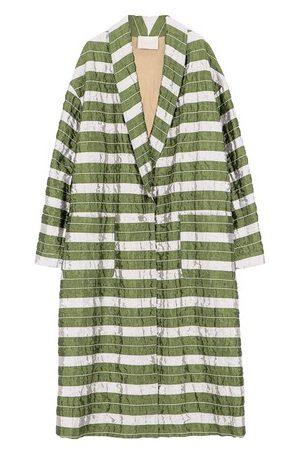 MOMONÍ Damen Mäntel - Mantel Matera aus gestepptem und gestreiftem Taft