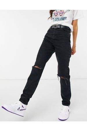 ASOS – Original – Hoch geschnittene Mom-Jeans mit Rissen in