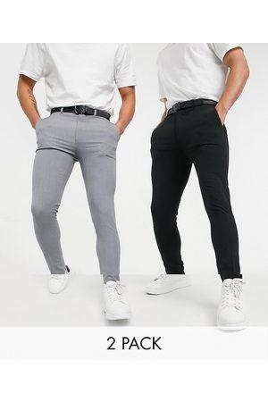 ASOS – Superenge, elegante Hose im Multipack in Schwarz und Grau-Mehrfarbig