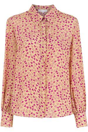 NK Damen Blusen - Seidenhemd mit Print - Mehrfarbig