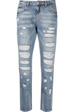 Philipp Plein Damen Baggy & Boyfriend - Boyfriend-Jeans im Distressed-Look