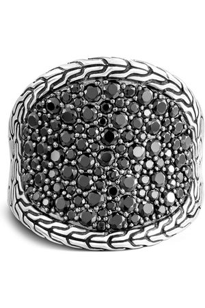 John Hardy Silver Classic Chain sapphire and spinel saddle ring