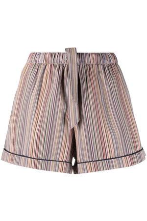 Paul Smith Damen Shorts - Stripe-print drawstring-waist shorts