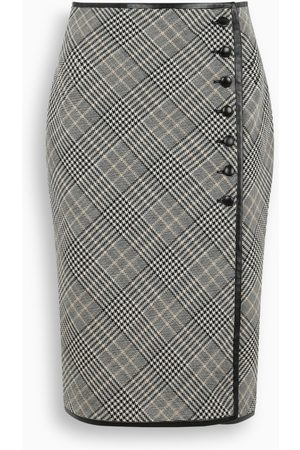 Saint Laurent Checked midi skirt
