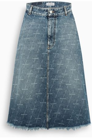 Balenciaga Denim logo pattern midi skirt