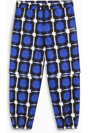 MARCELO BURLON Blue and white checked jogging pants
