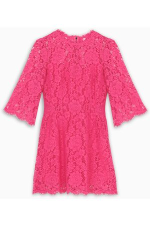 Dolce & Gabbana Embroidered lace hot pink dress