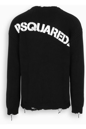 Dsquared2 Black vintage effect sweater with logo