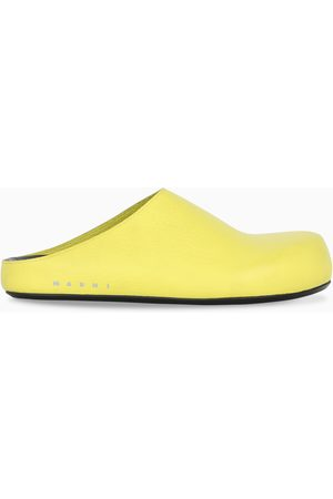 Marni Yellow grained leather sabot
