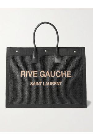 Saint Laurent Large Logo-Embroidered Leather-Trimmed Canvas Tote Bag