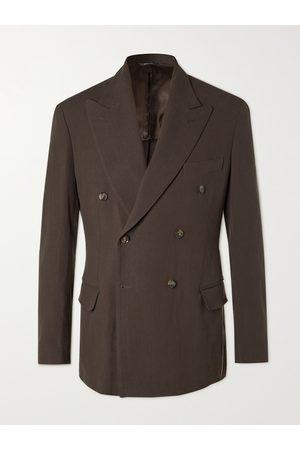 Loro Piana Double-Breasted Rain System Linen Suit Jacket