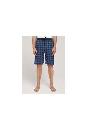 TOM TAILOR Herren Stoffhosen - Karierte Pyjama-Hose, Herren, blue-dark-allover, Größe: 48/S