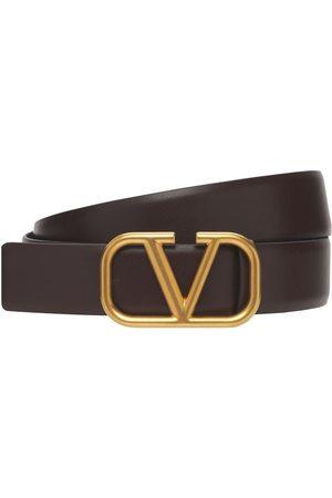 VALENTINO GARAVANI 30mm Breiter Ledergürtel Mit V-logoschnalle