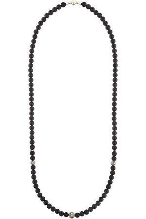 Nialaya Herren Halsketten - Perlenhalskette aus mattem Onyx