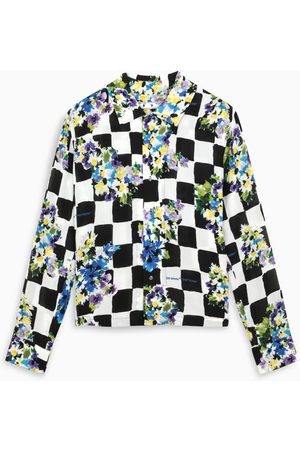 OFF-WHITE ™ Checked print shirt with floral details