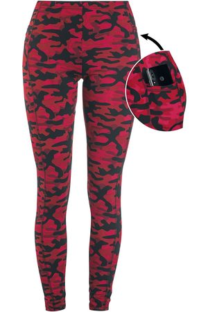 Rock Rebel Rote Camo-Leggings mit seitlichen Taschen Leggings