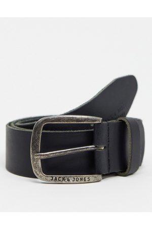 Jack & Jones – Glatter Ledergürtel mit Logoschnalle in