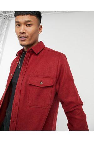 ASOS – Marineblaue Hemdjacke aus Wollmischung