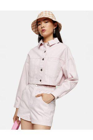 Topshop – Jeansshorts mit hohem Bund und Paperbag-Taille in Rosa
